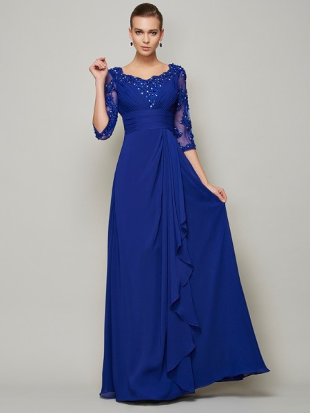 Fashion A-Line/Princess 3/4 Sleeves Lace Scoop Long Chiffon Mother of the Bride Dresses