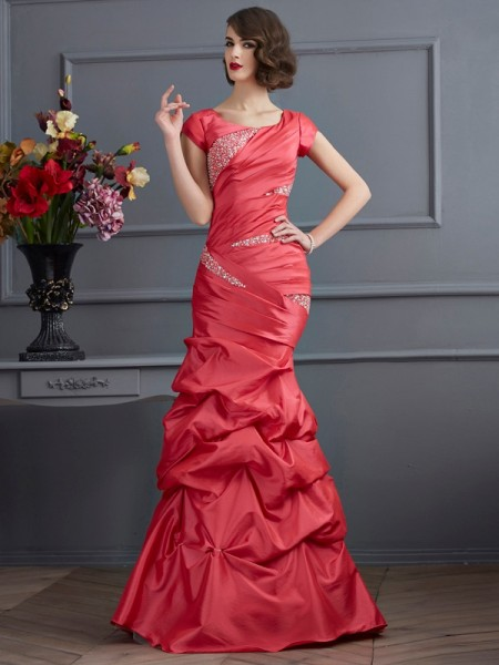Stylish Trumpet/Mermaid Short Sleeves Beading Scoop Long Taffeta Dresses