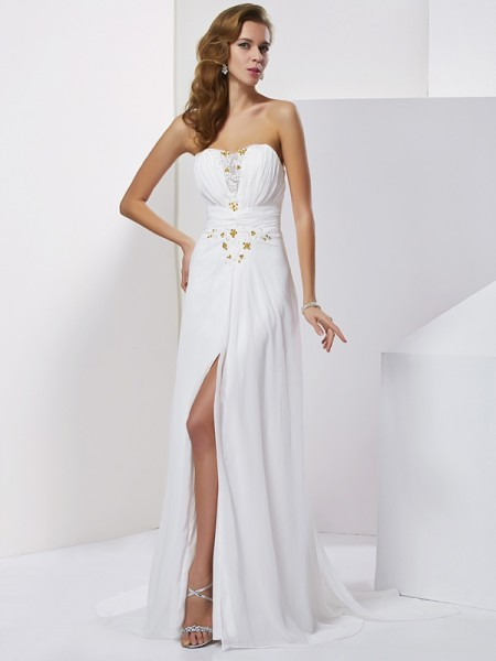Stylish A-Line/Princess Applique Sleeveless Sweetheart Beading Long Chiffon Dresses