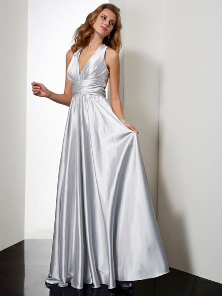 Stylish Sheath/Column Sleeveless Pleats Halter Long Elastic Woven Satin Dresses