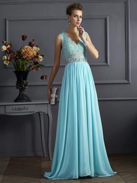 Fashion A-Line/Princess Sleeveless Beading Straps Lace Long Chiffon Dresses