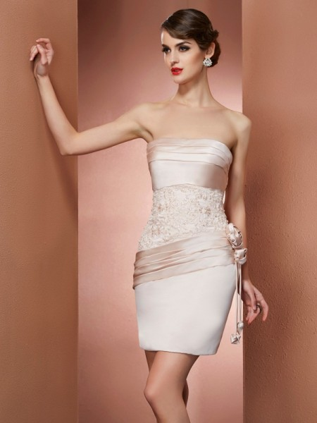 Fashion Sheath/Column Sleeveless Hand-Made Strapless Flower Short Satin Homecoming Dresses