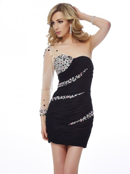 Stylish Sheath/Column Sleeveless Beading One-Shoulder Short Chiffon Homecoming Dresses