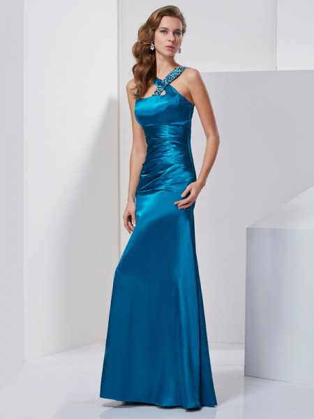 Fashion Sheath/Column Sleeveless Beading Straps Long Silk like Satin Dresses