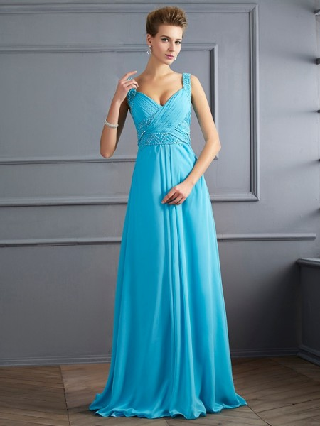 Stylish A-Line/Princess Sleeveless Pleats Straps Long Chiffon Dresses
