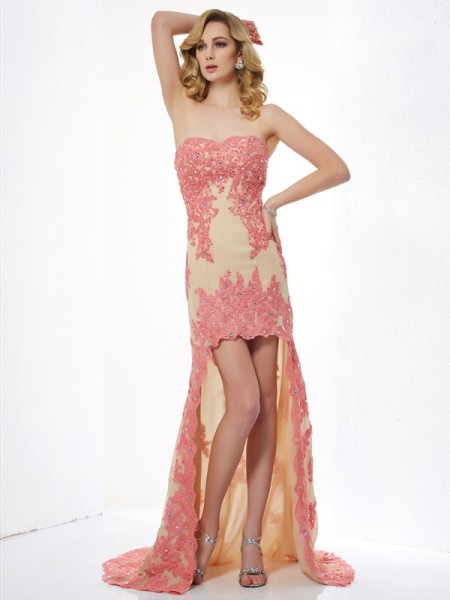 Fashion A-Line/Princess Sleeveless Applique Sweetheart High Low Lace Dresses