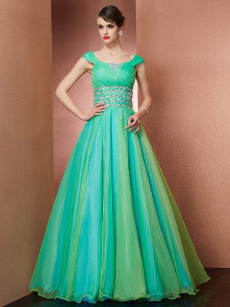 Fashion Ball Gown the Shoulder Off Sleeveless Beading Long Satin Quinceanera Dresses