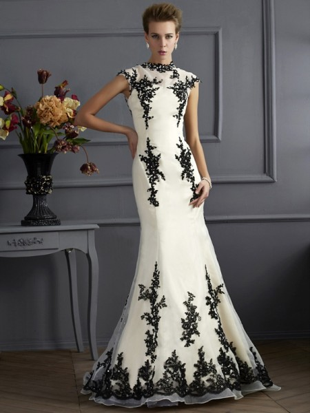 Fashion Trumpet/Mermaid Short Sleeves Applique High Neck Long Chiffon Mother of the Bride Dresses