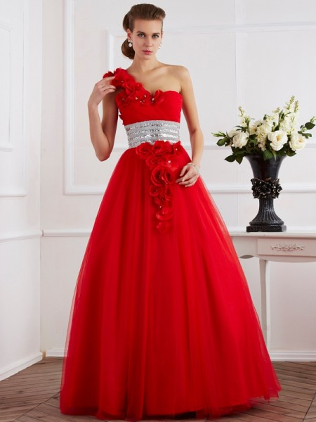 Stylish Ball Gown Sleeveless Hand-Made One-Shoulder Flower Long Net Quinceanera Dresses