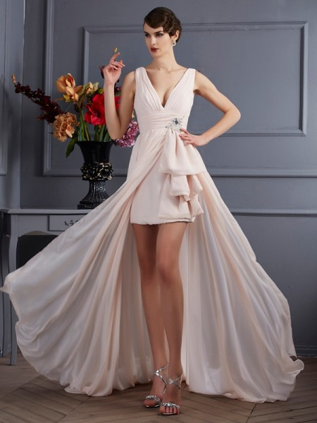 Stylish A-Line/Princess Sleeveless Beading Straps Long Chiffon Dresses
