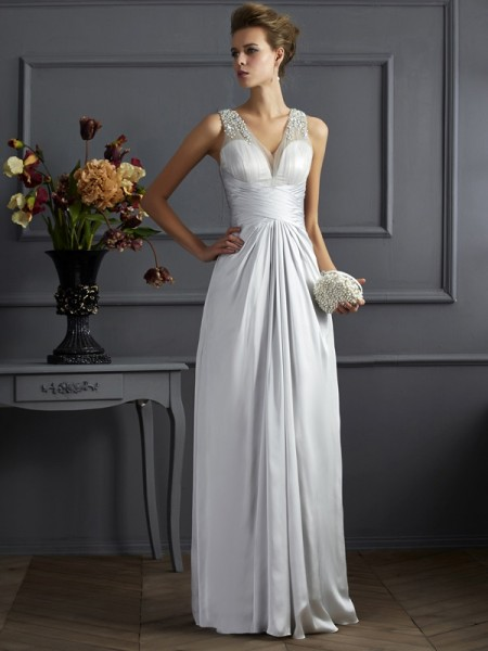 Fashion A-Line/Princess Sleeveless Beading Straps Long Silk like Satin Dresses