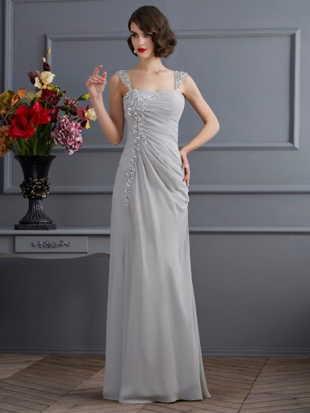 Stylish Trumpet/Mermaid Sleeveless Beading Straps Long Chiffon Dresses