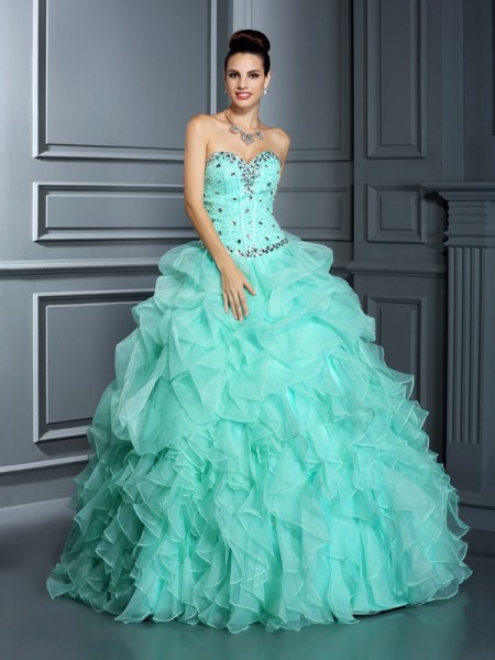 Fashion Ball Gown Beading Sleeveless Sweetheart Long Organza Quinceanera Dresses