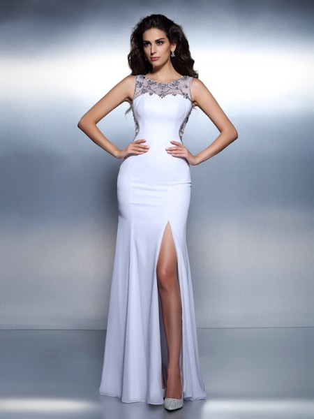 Fashion Trumpet/Mermaid Beading Sleeveless Bateau Long Chiffon Dresses