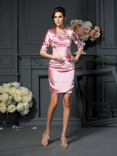 Fashion Sheath/Column Applique Sleeveless Scoop Short Elastic Woven Satin Mother of the Bride Dresses