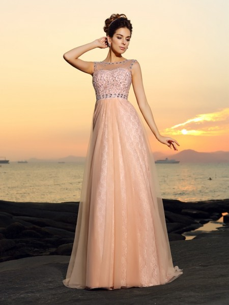 Fashion A-Line/Princess Lace Sleeveless Bateau Long Chiffon Dresses