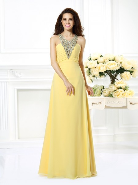 Fashion A-Line/Princess Beading Sleeveless V-neck Long Chiffon Dresses