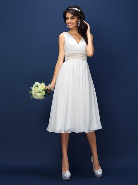 Fashion A-Line/Princess Pleats Sleeveless V-neck Short Chiffon Bridesmaid Dresses