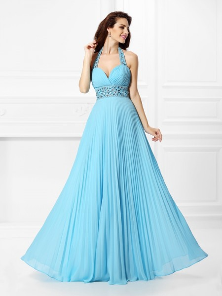 Fashion A-Line/Princess Rhinestone Sleeveless Halter Long Chiffon Dresses