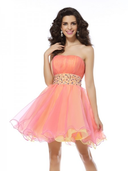 Fashion A-Line/Princess Beading Sleeveless Strapless Short Organza Cocktail Dresses