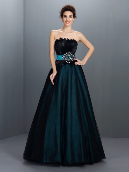 Fashion Ball Gown Feathers/Fur Sleeveless Strapless Long Elastic Woven Satin Quinceanera Dresses