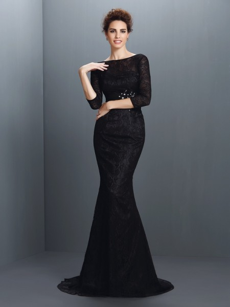 Stylish Trumpet/Mermaid Lace 3/4 Sleeves Bateau Long Elastic Woven Satin Mother of the Bride Dresses