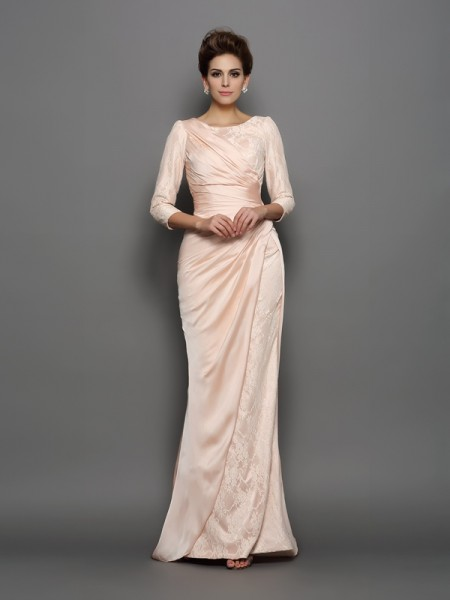 Fashion Trumpet/Mermaid Lace 3/4 Sleeves Bateau Long Chiffon Mother of the Bride Dresses