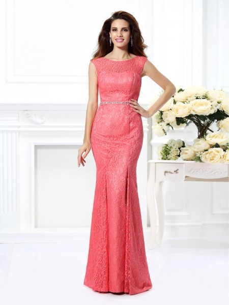 Stylish Trumpet/Mermaid Beading Sleeveless Bateau Long Lace Dresses