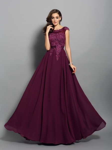 Stylish A-Line/Princess Applique Sleeveless Scoop Long Chiffon Dresses
