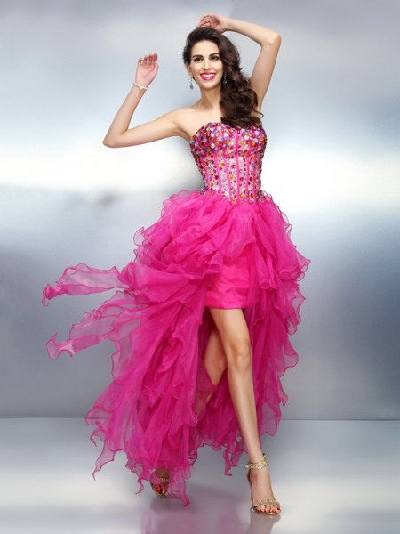 Fashion A-Line/Princess Rhinestone Sleeveless Sweetheart High Low Organza Cocktail Dresses