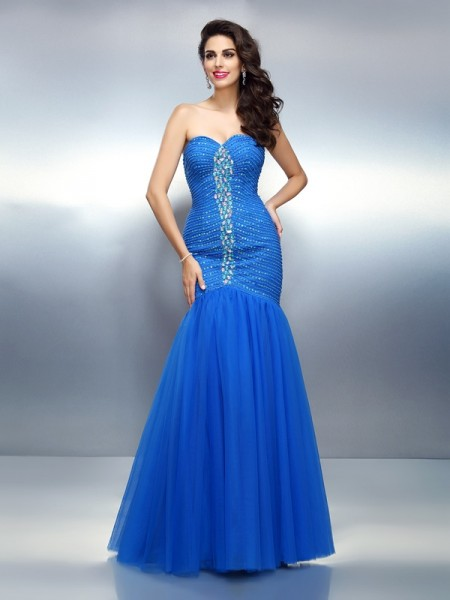 Stylish Trumpet/Mermaid Rhinestone Sleeveless Sweetheart Long Satin Dresses