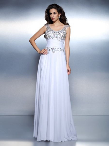 Fashion A-Line/Princess Beading Sleeveless Scoop Rhinestone Long Chiffon Dresses