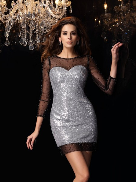 Stylish Sheath/Column Beading 3/4 Sleeves Scoop Short Sequins Cocktail Dresses