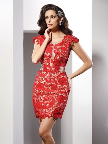 Stylish Sheath/Column Lace Sleeveless Scoop Short Elastic Woven Satin Cocktail Dresses
