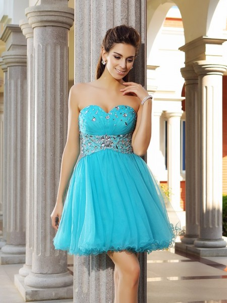Fashion A-Line/Princess Ruffles Sleeveless Sweetheart Short Satin Cocktail Dresses