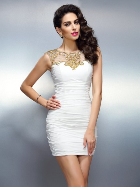 Stylish Sheath/Column Beading Sleeveless Bateau Short Chiffon Cocktail Dresses