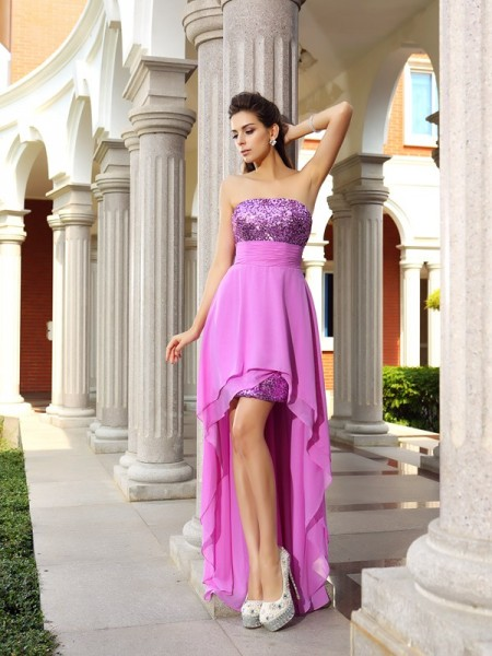 Stylish A-Line/Princess Beading Sleeveless Strapless High Low Chiffon Cocktail Dresses