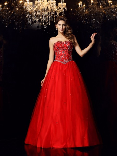 Stylish Ball Gown Beading Sleeveless Sweetheart Long Satin Quinceanera Dresses