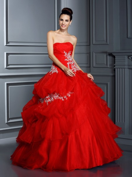 Stylish Ball Gown Applique Sleeveless Strapless Long Organza Quinceanera Dresses