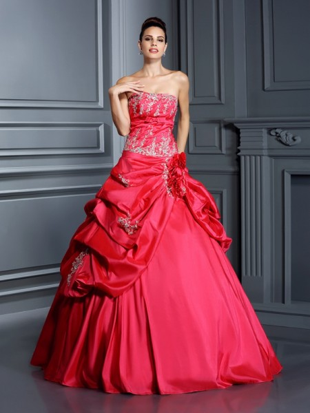 Fashion Ball Gown Applique Sleeveless Strapless Long Taffeta Quinceanera Dresses