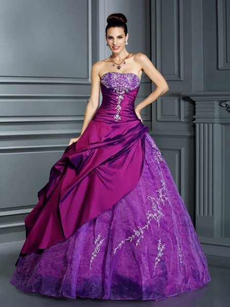 Stylish Ball Gown Applique Sleeveless Strapless Long Taffeta Quinceanera Dresses