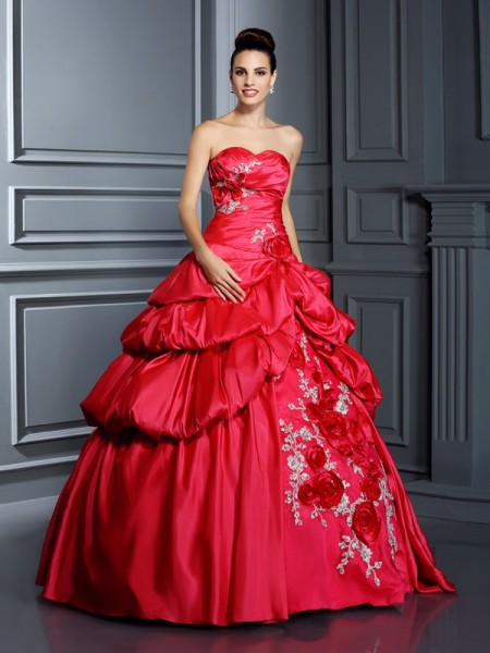 Stylish Ball Gown Hand-Made Flower Sweetheart Sleeveless Long Taffeta Quinceanera Dresses