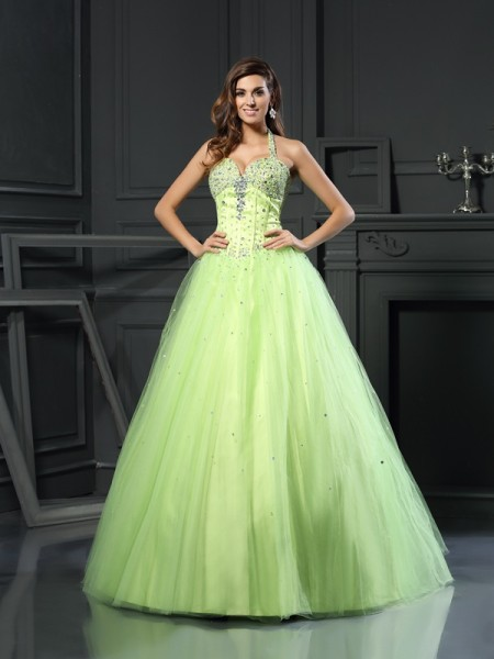 Stylish Ball Gown Beading Sleeveless Halter Long Satin Quinceanera Dresses