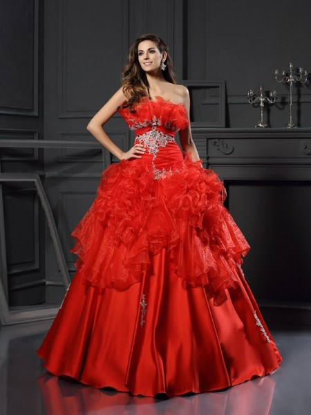 Fashion Ball Gown Ruffles Sleeveless Strapless Long Organza Quinceanera Dresses