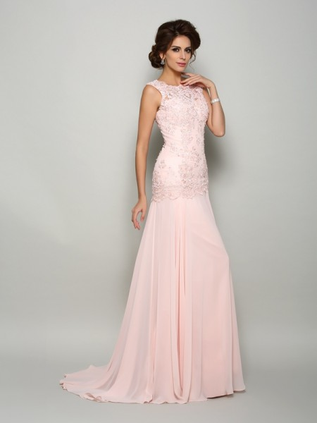 Fashion Trumpet/Mermaid Beading Sleeveless Scoop Long Chiffon Mother of the Bride Dresses