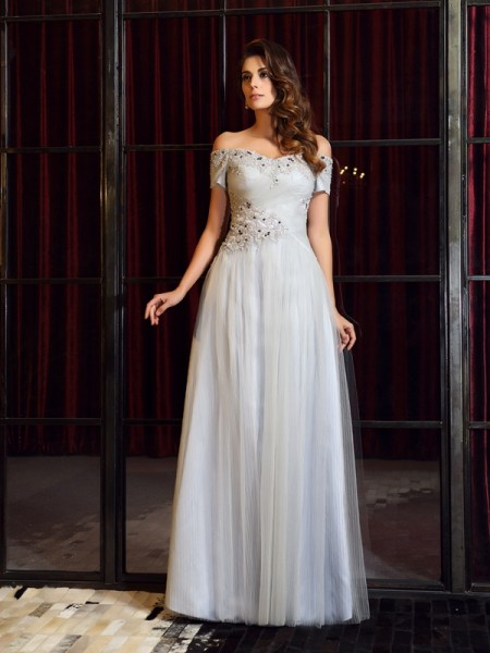 Stylish A-Line/Princess Beading Sleeveless Off-the-Shoulder Long Net Dresses