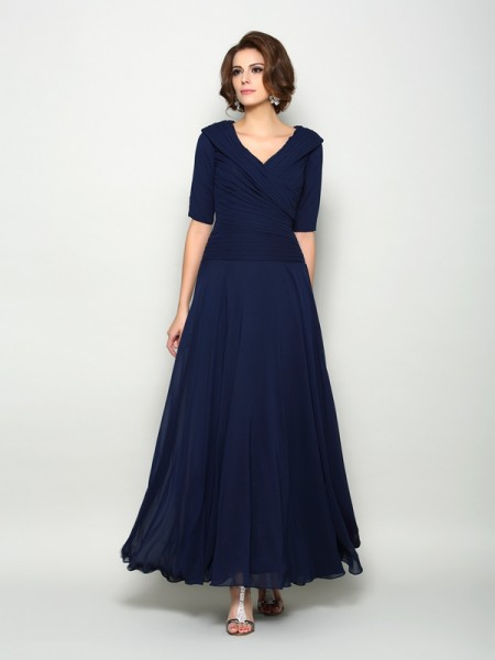 Fashion A-Line/Princess 1/2 Sleeves Long V-neck Chiffon Mother of the Bride Dresses