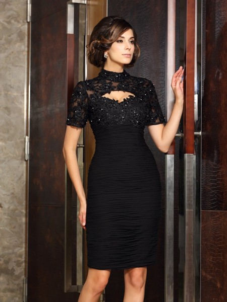 Stylish Sheath/Column Beading Short Sleeves High Neck Short Chiffon Mother of the Bride Dresses