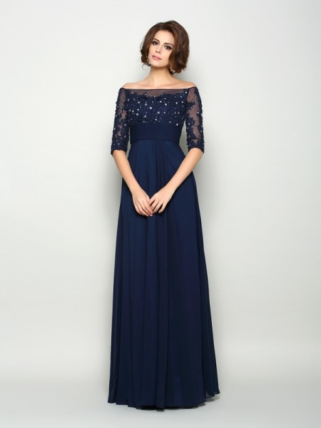 Fashion A-Line/Princess Beading 1/2 Sleeves Off-the-Shoulder Long Chiffon Mother of the Bride Dresses
