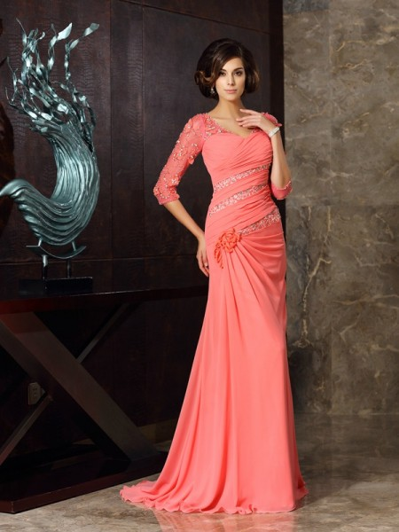 Fashion Trumpet/Mermaid 1/2 Sleeves Long Sweetheart Chiffon Mother of the Bride Dresses